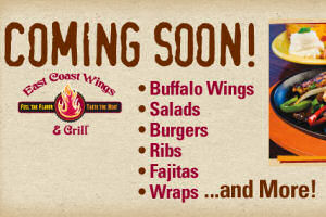 East Coast Wings Opens October 2014 in Kingsport!